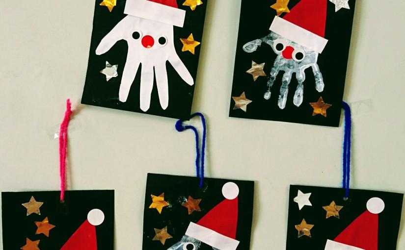 子どもたちの手形で🎅